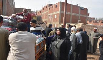 توزيع 144 بطانية فى قرية الطرانة والإخماس مركز السادات