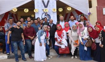 افتتاح  معرض للأعمال  الفنية  والكتاب في جامعة مدينة السادات