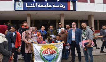 استقبال حافل لوفد جامعة مدينة السادات المشارك بـ فعاليات أسبوع شباب الجامعات الأول لمتحدي الإعاقة بجامعة المنيا