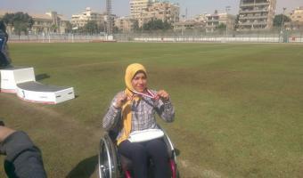 حصول الطالبة حنان إبراهيم على الميدالية الفضية فى سباق 200 متر كراسى متحركة ببطولة الشهيد رفاعى ال45